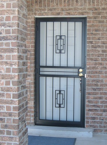 Security pre-hung screen door in Contemporary design