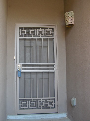 Security pre-hung screen door with Modern design