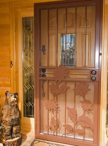 Security pre-hung screen door with Sunflower design