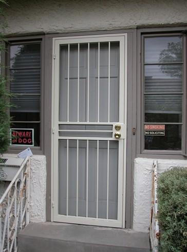 Security pre-hung screen door with no design