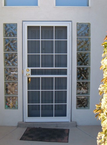 Security pre-hung screen door in Divided Light design