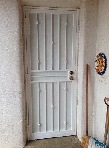 Security pre-hung door with Knuckles design and perforated metal