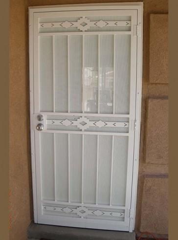 Security pre-hung door in High Desert design and perforated metal