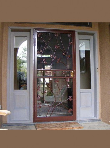 Security storm door in Leaves design