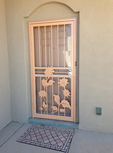 Security storm door in Sunflower design