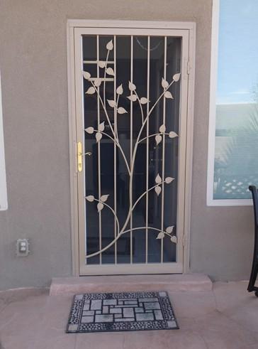 Security storm door in Leaf design