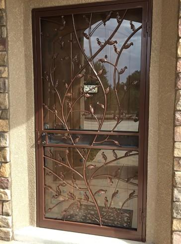 Security Storm Door in Vine and Leaf design