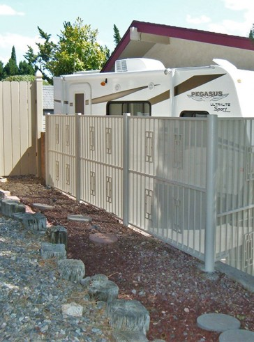 6' high fence with Contemporary design and perforated metal