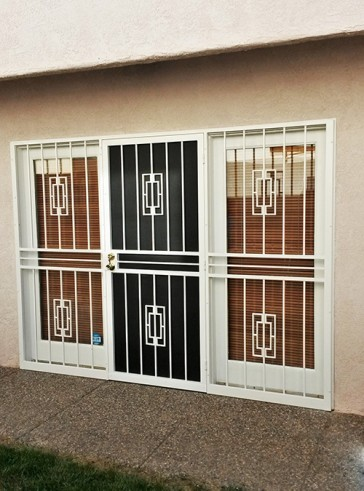 Security pre-hung screen door with double sidelights in Contemporary design