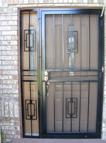 Security pre-hung screen door with sidelight in Contemporary design