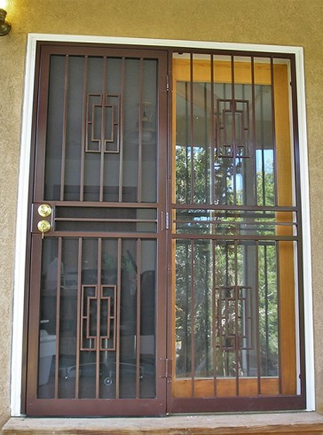 Security Screen Door w/side panel in Contemporary design