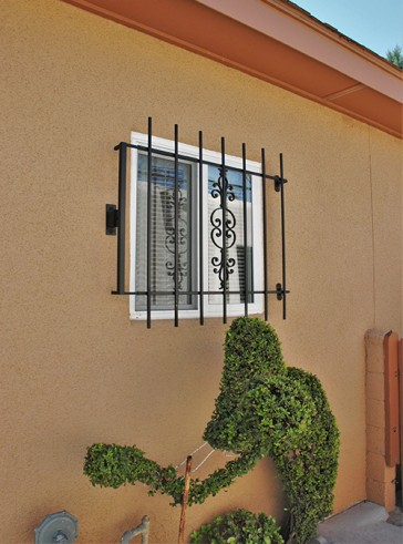 Window grill with Emergency Fire Release in Caprice design