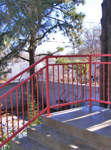 Railing with open top panel