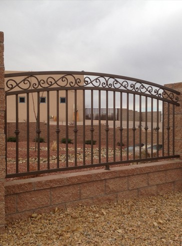 Wall Topper arched top railing with forged scrolls and knuckles