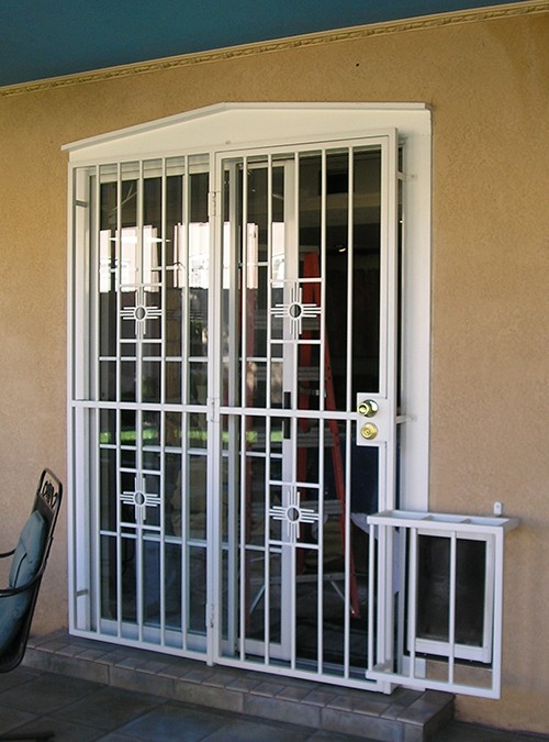 Patio Door With Small Zia Design And Pet Cover