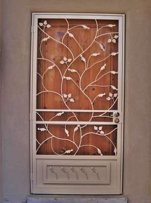 Security pre-hung screen door with leaves design and kick panel