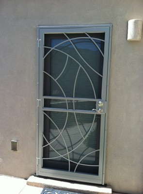 Security pre-hung screen door in Freeform design