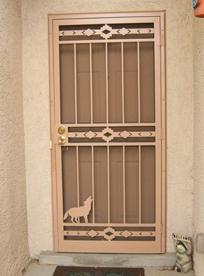 Security pre-hung screen door with High Desert and Coyote design