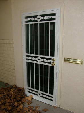 Security pre-hung screen door in High Desert design