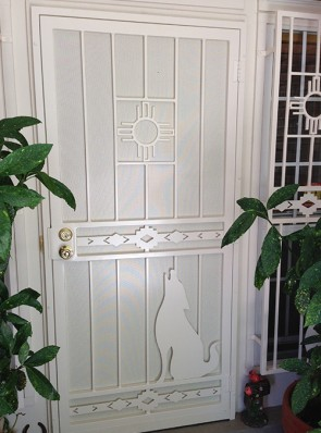 "Security pre-hung door with Zia, High Desert and 24"" Coyote design with perforated metal"