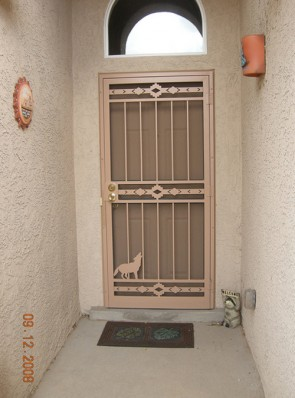 Security screen door with High Desert and Coyote design