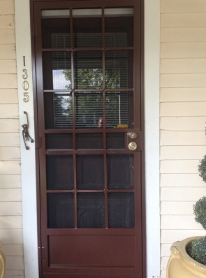 """Security screen door in 3/4"""" Divided Light with Cross Strap design and Kick panel"""