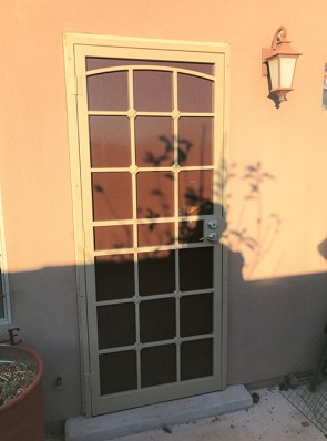 Security door with Arched top, Divided Light  with Cross Strap design
