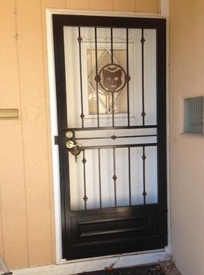 Security door with Custom cat design, Knuckles and Kickplate