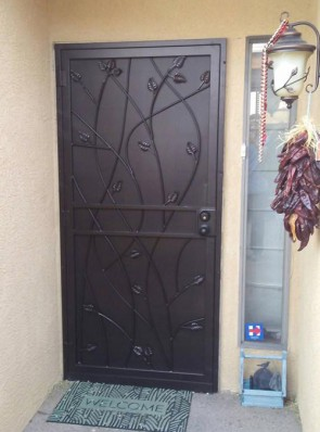 Security door with Leaves design and perforated metal