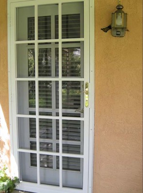 "Security pre-hung screen door with 1"" divided light design and slimline lock"