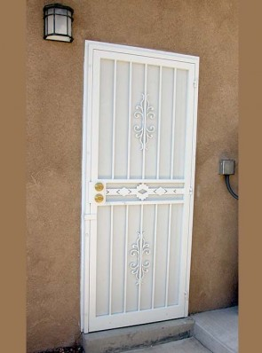 Security pre-hung door with Sundance and High Desert design and perforated metal