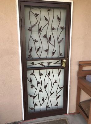 Security storm door in wavy leaf design