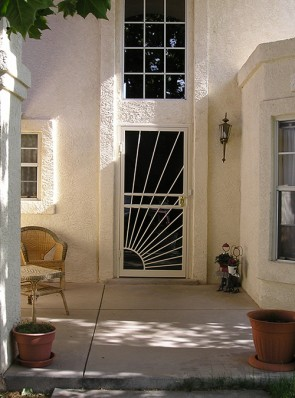 Security storm door in Sunray design