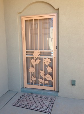 Security storm door in Sunflower design