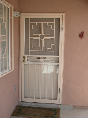 Security storm door with Custom Zia and Zig middle picket