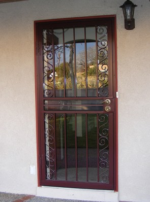 Security storm door with Simple Scrolls design on sides