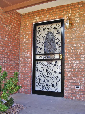 Security storm door in Scroll design, leaves and flowers design