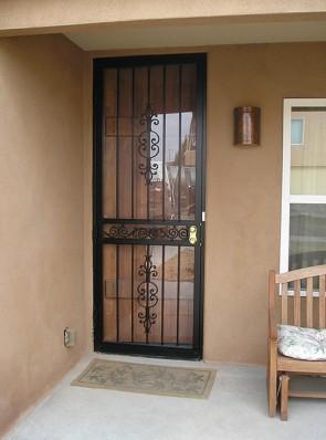 8' high security storm door in Caprice design