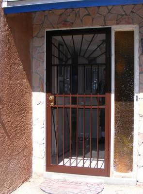 Security storm door in Upper Straight Sun design