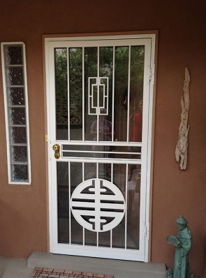 Security storm door with Contemporary on top and Custom design on bottom