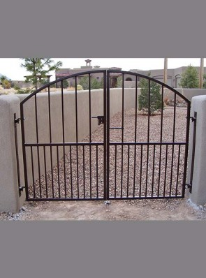 Arched gates with doggie pickets and slidebolt latch
