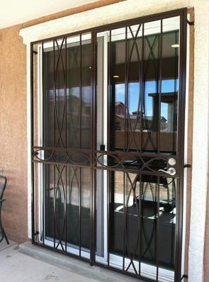 8' High patio door in Iron Cross design