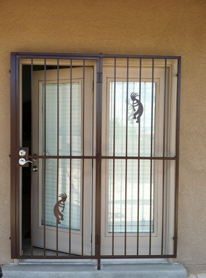 Patio door with Kokopellis