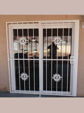Patio door with Swirl Sun design