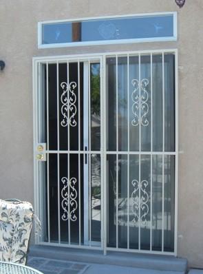 Patio door with Sunbird design