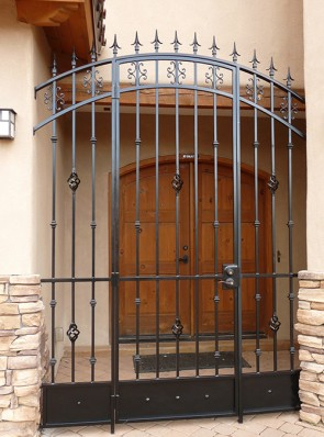 Arched porch enclosure with Spears, Knuckles, Baskets, and kick panel