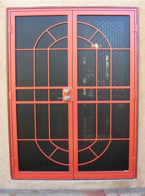 Pair of security doors with perforated metal in custom design (a003)