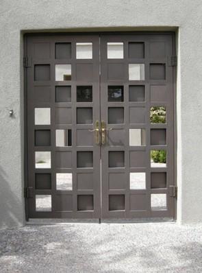 Pair of security pre hung doors in random panel design