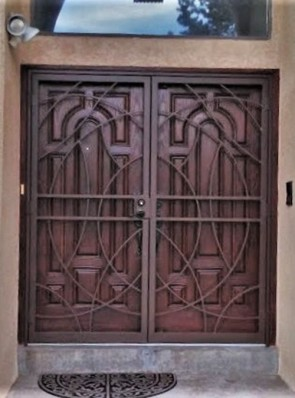 Pair of security pre hung screen doors in free form  design