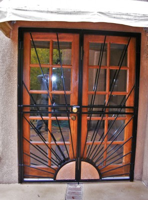 Pr. of Security doors with Copper Sunray design